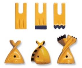 Hidraulinių žemės grąžtų adapteriai ir dantys