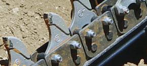 Hydrive trenšerių nesilankstančios grandinių jungtys